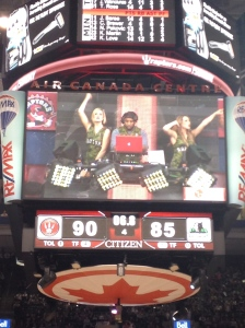 DJ on scoreboard