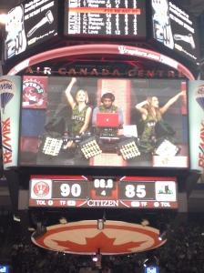 DJ on scoreboard